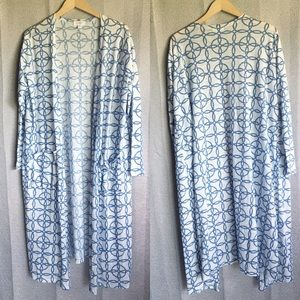 Lularoe Sarah cardigan xl blue white cotton blend